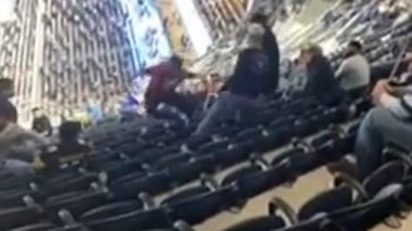 Cardinals fan gets shoved, flies over chairs in football brawl