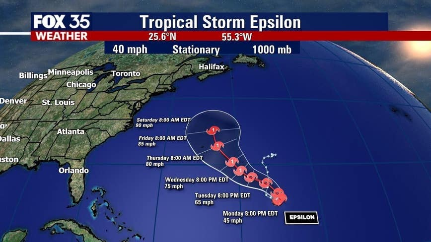 Tropical Storm Epsilon forms, will strengthen into hurricane