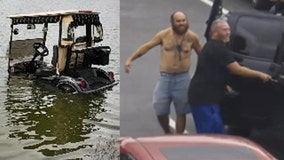 Deputies: Man wanted after stealing golf cart, crashing into pond
