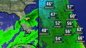 Cold front moves into Central Florida, dropping temps to the 40s, 50s