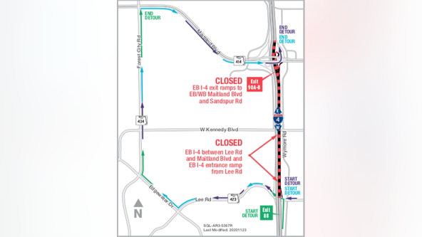 Eastbound I-4 between Lee Rd. and Maitland BLVD to close for 1 night