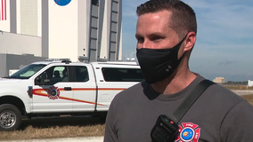 Firefighter saves painters at Kennedy Space Center after scaffolding breaks