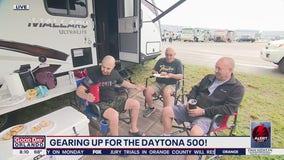 Fans eat breakfast ahead of the 63rd Daytona 500 race