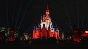 Castle at Magic Kingdom lights up in Bucs' colors to celebrate Super Bowl win