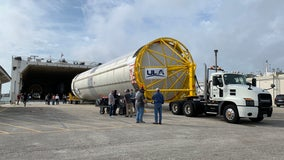 ULA Centaur booster arrives in Cape Canaveral