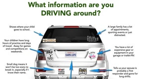 What info are you driving around? Sheriff's department warns of bumper stickers, decal dangers
