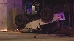 WATCH: Jeep falls off I-4 onto road below