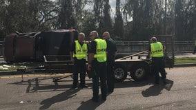 8-year-old passenger dies after pickup truck flipped on Lakeland road, deputies say