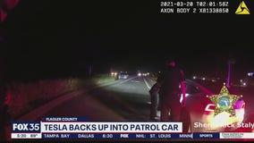 Deputies say Tesla backed into patrol car during stop