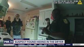 Suspect found hiding in the dryer