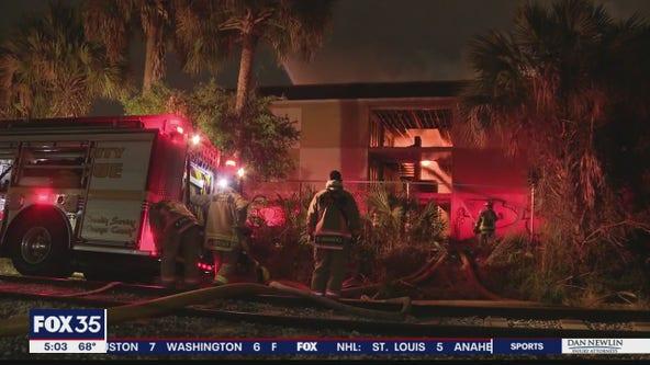 Massive fire tears through abandoned hotel near Florida Mall