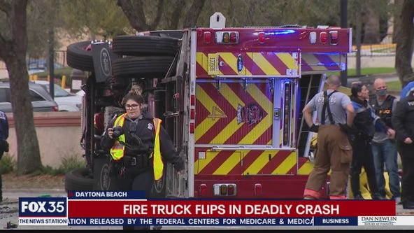 Fire truck overturns in deadly crash