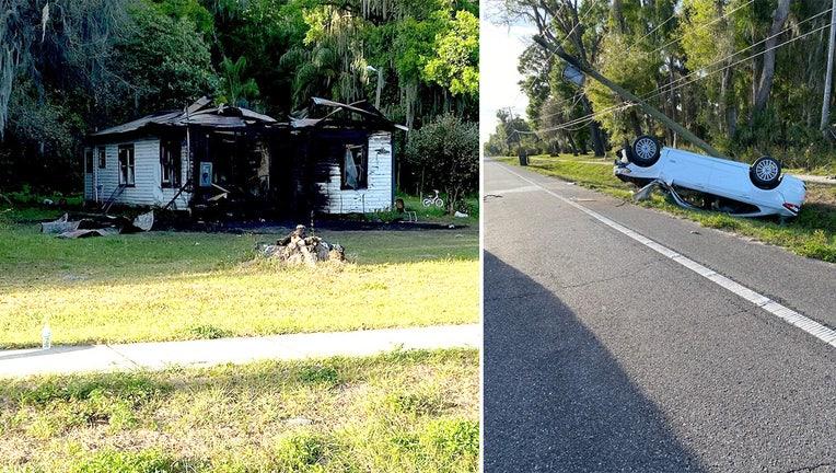 car crash and house fire