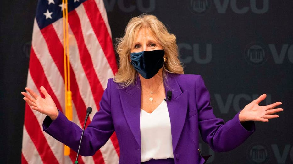 FILE - First lady Jill Biden speaks before a panel discussion on cancer research and care at the Massey Cancer Center at Virginia Commonwealth University in Richmond, Virginia on Feb. 24, 2021. (Photo by RYAN M. KELLY/AFP via Getty Images)