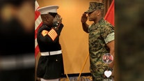 Marine father giving emotional first salute to son as commissioned officer goes viral