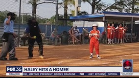 Haley hits a homerun