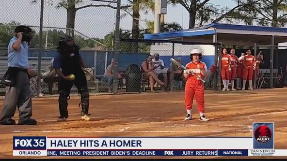 Haley hits a homerun