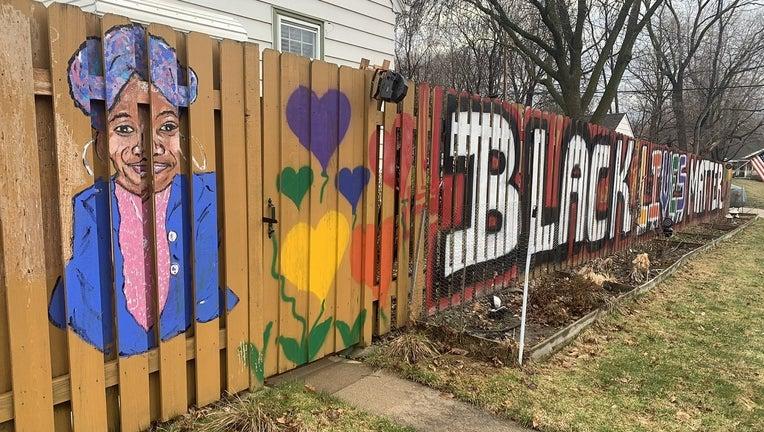 blm mural w st paul fence