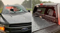 Lightning strikes Florida highway causing 'chunk of road' to fly through truck windshield, officials say