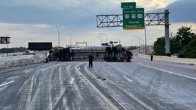 Crash involving overturned semi shuts down I-4 lanes in Orlando