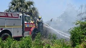 Orange County firefighters battle brush fire near Apopka