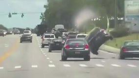 Dashcam of Florida patrol vehicle captures car being swiped, flipped