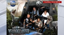 Actor-comedian Kenan Thompson spotted taking a spin on Jurassic World: VelociCoaster