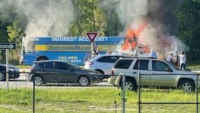 FHP: 1 dead after bus, utility truck crash on International Speedway BLVD