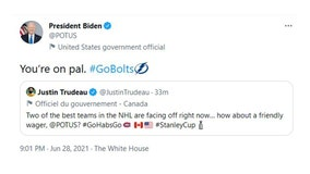 'You're on pal': Biden accepts 'friendly wager' with Trudeau on Stanley Cup winner
