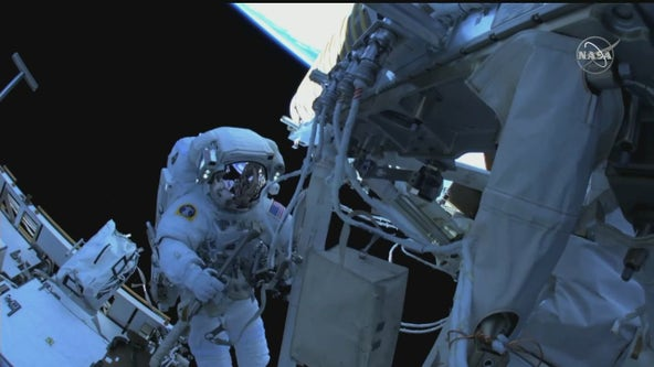 Spacewalk: Astronauts at space station install more solar arrays