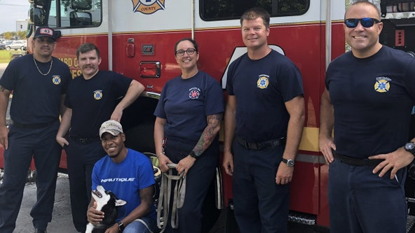 Florida firefighters reunite missing husky puppy with owner