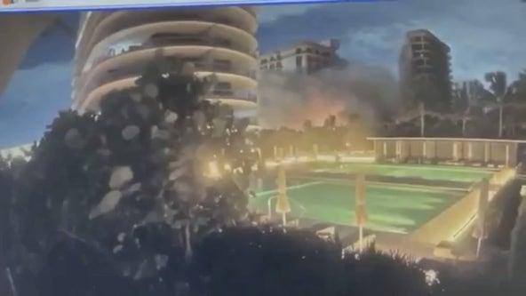 VIDEO: Surveillance captures moment condo building partially collapses near Miami Beach