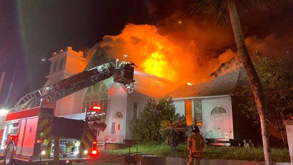 Massive fire tears through church in Daytona Beach