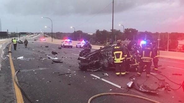 Fire rescue: 2 taken to hospital after crash on I-4