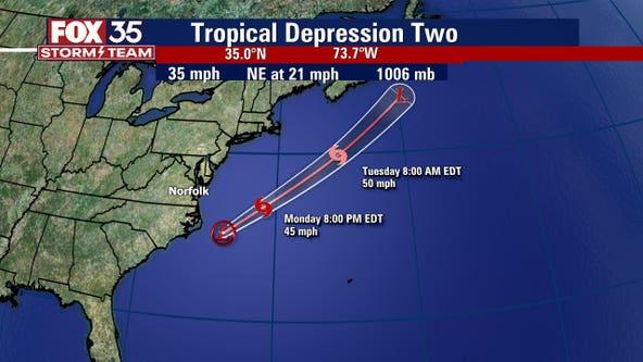 NHC: Tropical Depression 2 forms off North Carolina coast