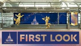 Disney mural celebrating 50th anniversary at Orlando International Airport