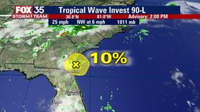 Weak low-pressure system moves onshore near Florida-Georgia border