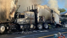 2 semi-trucks involved in fiery crash on Florida Turnpike, FHP says