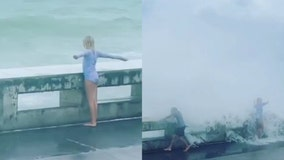 VIDEO: Large waves drench kids in Florida Keys as Elsa approaches