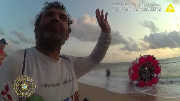 Body camera video shows deputy respond to beached 'hydropod' sea craft