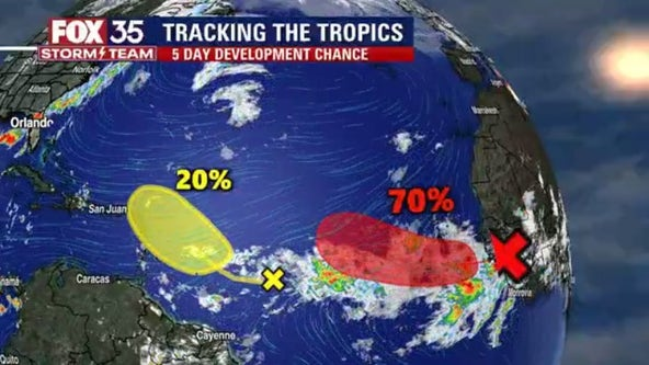 Hurricane center monitoring 2 tropical waves in the Atlantic