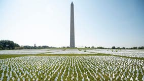 Flags displayed on National Mall in honor of 600,000+ COVID-19 deaths in U.S.
