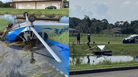 Plane crashes at Florida airport, ends up in water-filled ditch, officials say