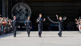 SpaceX's Inspiration4 crew departs for launchpad in signature Teslas