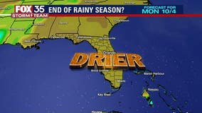 Tropical moisture shoved away as dry air is here to stay