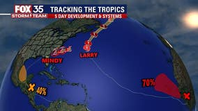 Development chances increase for 2 tropical waves, Mindy and Larry churn in Atlantic