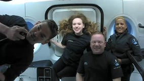 From orbit, Inspiration4 private astronaut crew chats with young cancer patients
