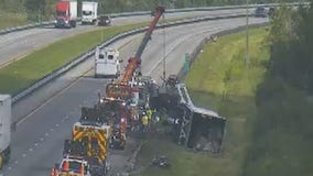 Officials: Tractor-trailer tips over, catches on fire on Florida Turnpike