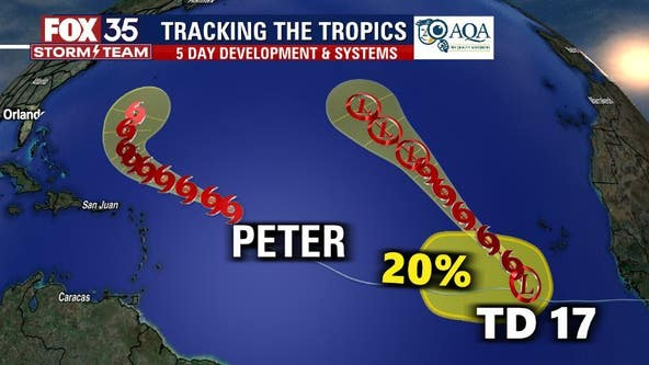 Tropical Storm Peter and Tropical Depression 17 form overnight