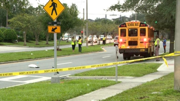 FHP: Pedestrian injured after being hit by vehicle and school bus